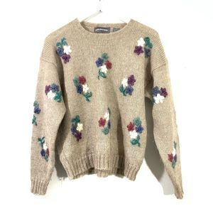 Maurices Vintage Tan Embroidered Floral Sweater